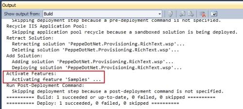 Attivazione automatica della feature in fase di deployment da Visual Studio 2010