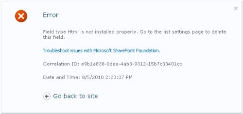 Error message SharePoint 2010