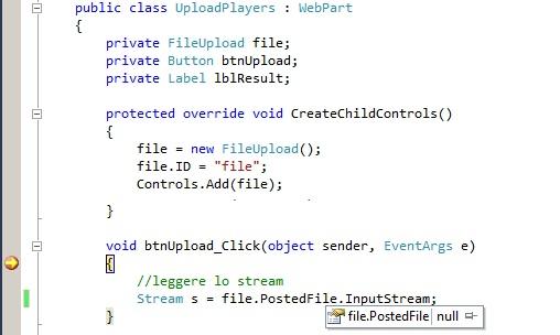 Il controllo FileUpload non è disponibile all'interno di soluzioni sandbox di SharePoint 2010