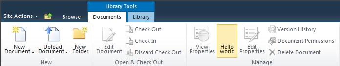 Posizionamento di un controllo nella barra dei Ribbon di SharePoint 2010