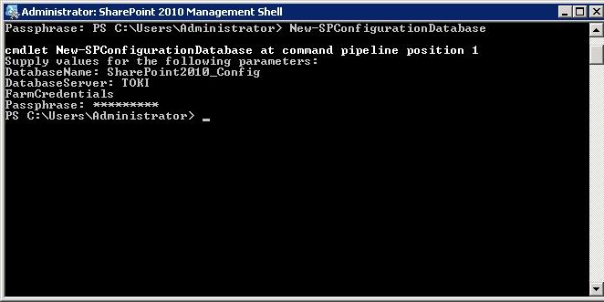 Il comando New-SPConfigurationDatabase