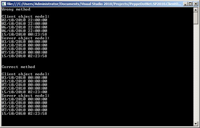 Date CORRETTE utilizzando il Client Object Model di SharePoint 2010