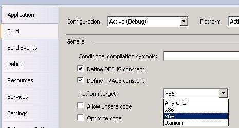 Cambiamento target platform a 64bit per applicazioni SharePoint 2010