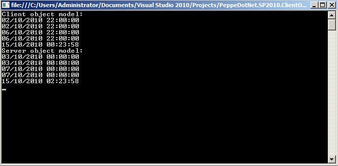 Date non corrette utilizzando il Client Object Model di SharePoint 2010