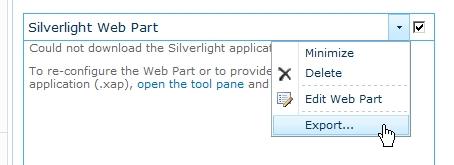 Come esportare la definizione di una web part in SharePoint 2010
