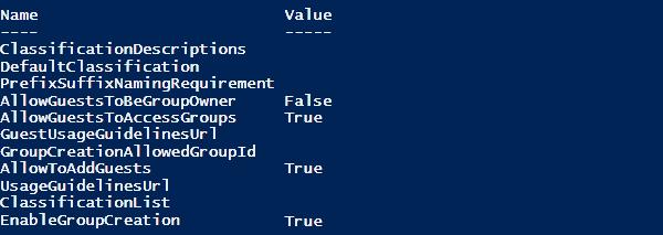 Esecuzione del comando Get-AzureADDirectorySetting
