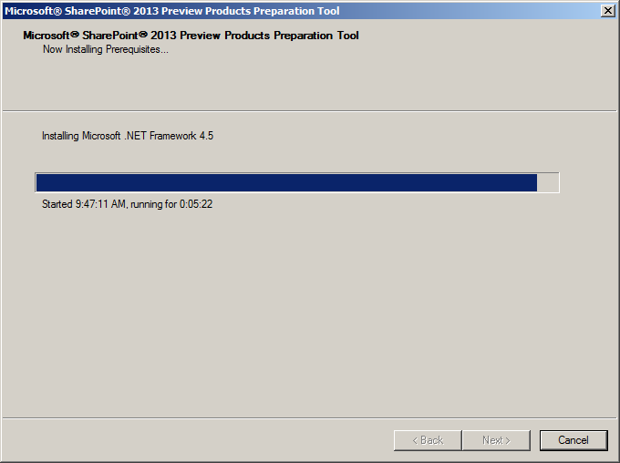 SharePoint 2013 preview software requirements: .NET Framework 4.5!