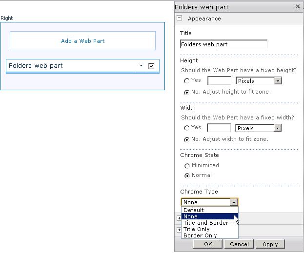 Impostare il ChromeType di default  per le vostre web part