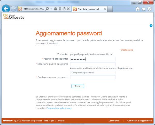 Modificare la modalità di scadenza della password di Office 365