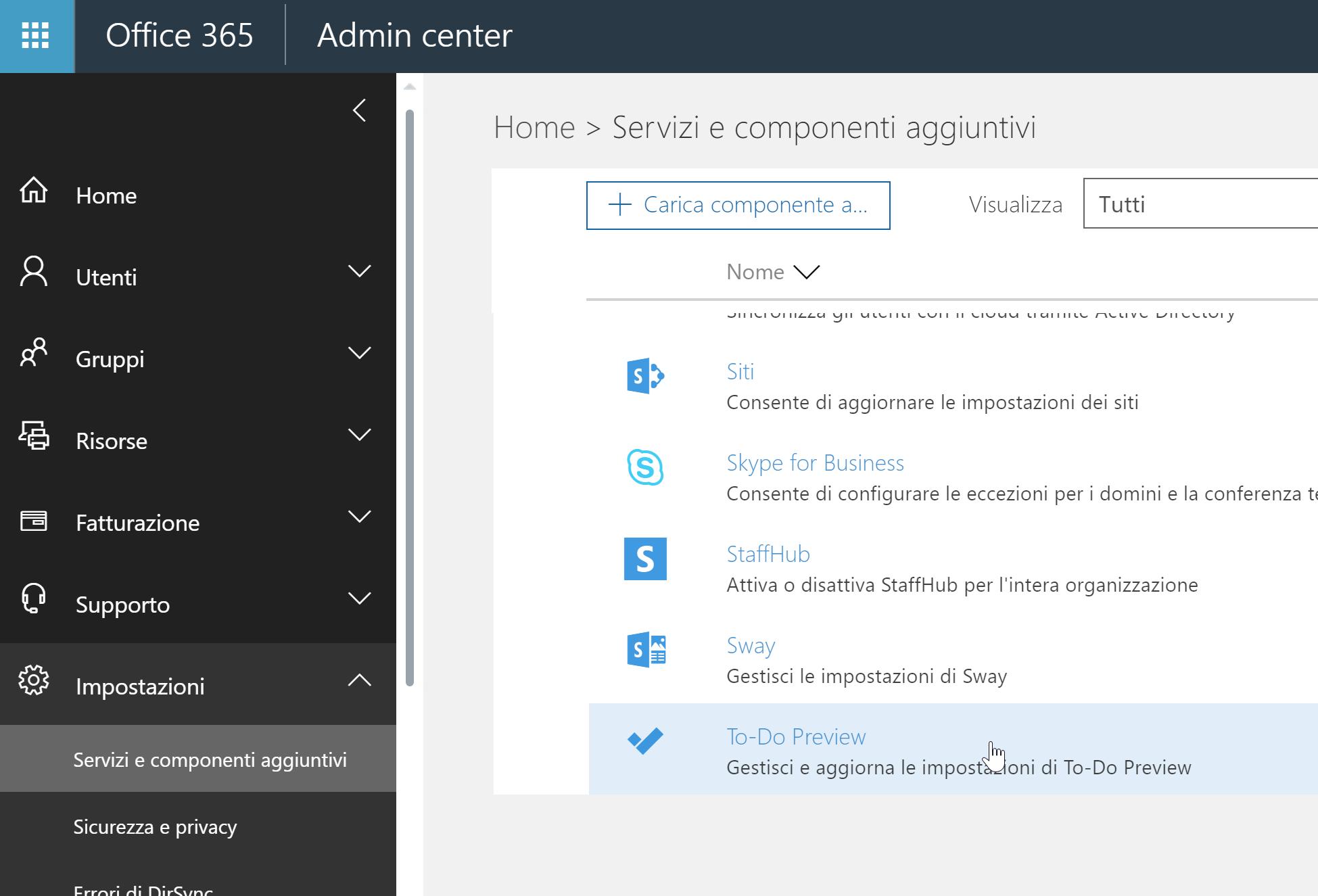 Abilitare Microsoft ToDo
