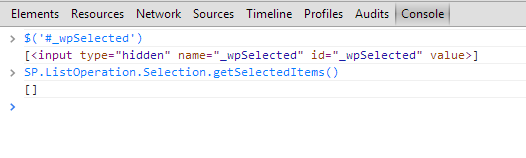 SharePoint error: il metodo SP.ListOperation.Selection.getSelectedItems() ritorna un array vuoto