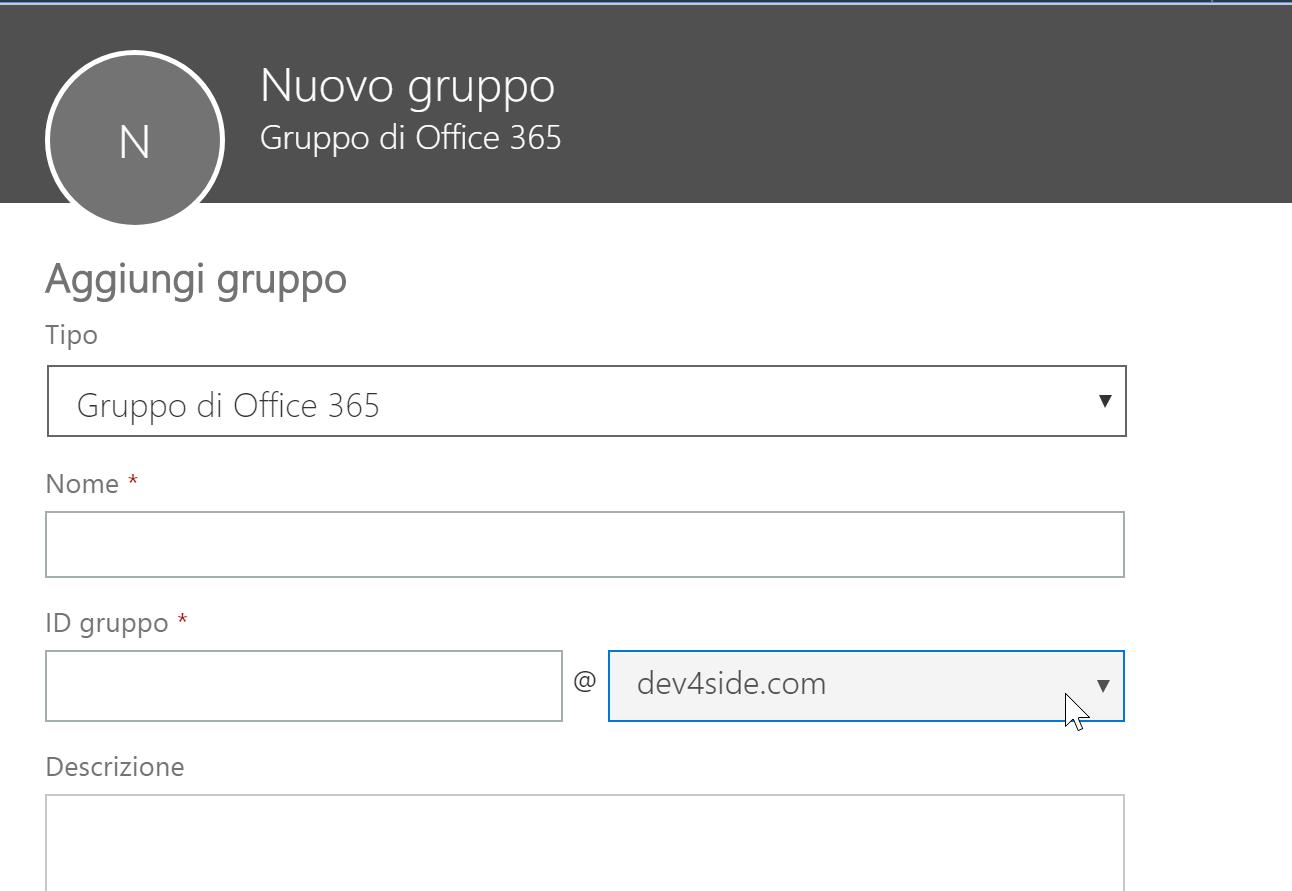 Creazione di un nuovo gruppo Office 365