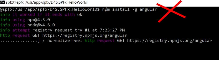 Da non fare: npm install senza il --save
