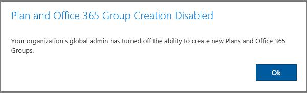 Messaggio di errore durante la creazione di un nuovo gruppo