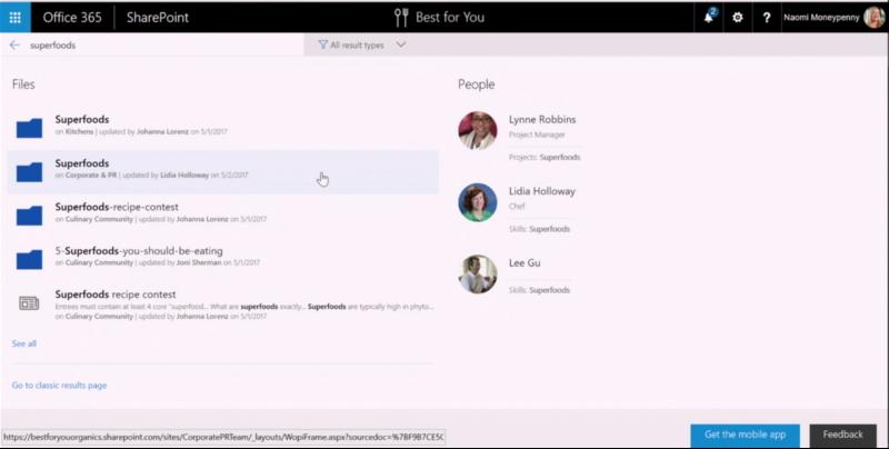 La nuova preview dei risultati di una ricerca in un Team Site SharePoint Online
