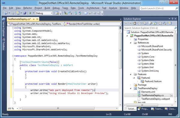 Visual Studio 11 for SharePoint Tip#5: deploy remoto