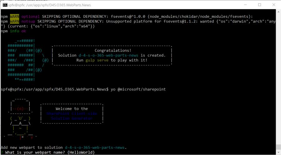 Come aggiungere una nuova webpart in un progetto SharePoint Framework