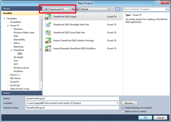 Visual Studio 11 for SharePoint Tip#1: template di progetto ed elemento