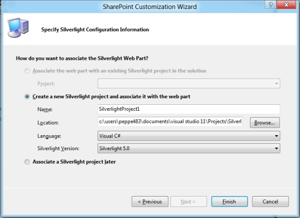 SharePoint 2010 Siverlight Web Part in Visual Studio 11