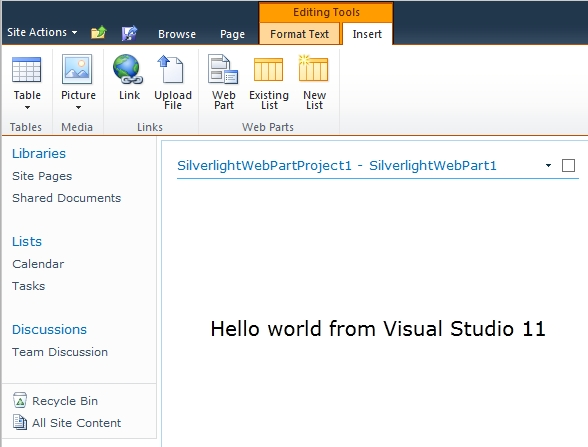 SharePoint 2010 Siverlight Web Part in Visual Studio 11
