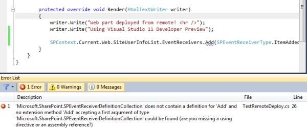 Visual Studio 11 for SharePoint Tip#3: miglior supporto alle Sandbox Solution