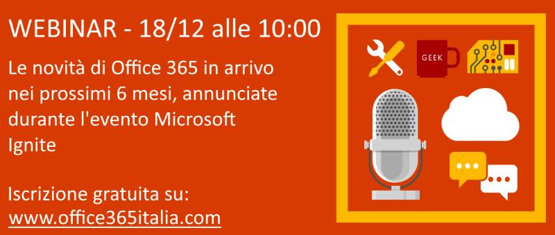 Webinar gratuito sulle novità di Office 365 nei prossimi 6 mesi
